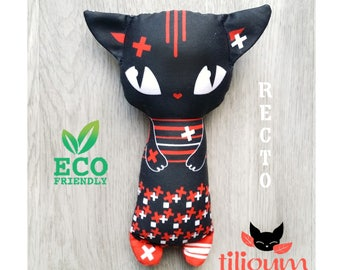 Rattle black red cat daredevil, ecological toy fabric cotton 100% organic illustrated both sides, baby comforter cuddly kitten baby gift