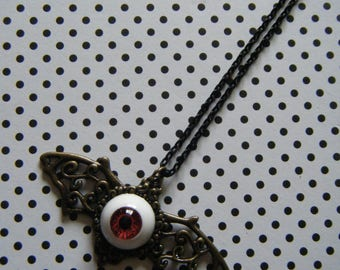Eyeball bat  antique bronze red doll eye pendant necklace