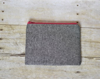 Gray and pink zipper pouch - zipper pouch -small pouch - gray pouch - gray linen pouch - gifts for her -makeup bag - small wallet