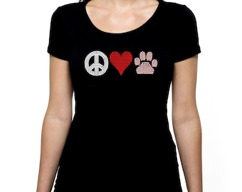 Peace Love Paw RHINESTONE t-shirt tank top  Bling S M L XL 2XL - Paws Animal Dog Cat Pet Rescue Volunteer Lover pets