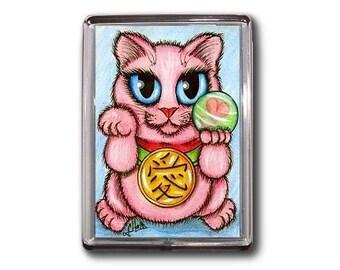 Lucky Cat Magnet Maneki Neko Love Luck Fortune Romance Fantasy Cat Art Framed Magnet Gifts For Cat Lovers