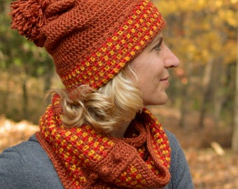 Crochet Pattern Hat and Cowl Matching Hat and Cowl pattern Scarf Matching set crochet pattern Easy Spiced Cider INSTANT PDF DOWNLOAD