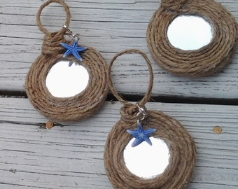 Rope Mirror Hanging Set 2.75 inches Jute Rope with Charm Coastal Cottage Decor Beach Mirror Ornamental