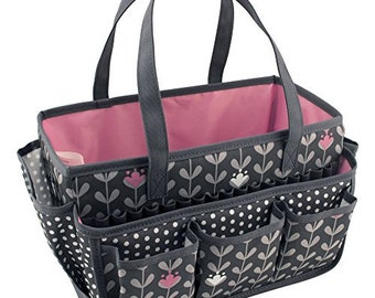 Everything Mary Large Open Craft Caddy - Grey / White / Pink