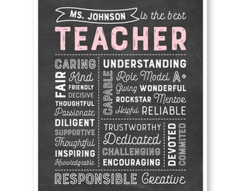 Teacher Gift, Teacher's Day Gift, The Best Teacher, Teacher Chalkboard Print, Teacher Christmas, Custom Teacher Gift, Teacher's Day Card