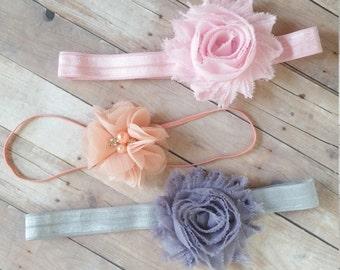3 Baby Headbands, Vintage Headband Set, Baby Headband Infant, Shabby Chic Headband, Peach Headband, Pink Headband, Baby Shower Gift, Bows