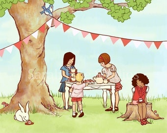 Children's Wall Art Print - Summer Tea Party - Girl Kids Nursery Room Decor