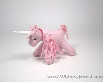 Miniature Pink Felt Toy Unicorn