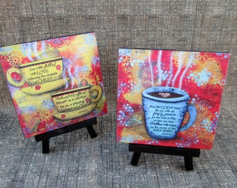 Two Styles Mini Coffee Cup and Scripture Art Print on Easel, Wood Mounted Print, Coffee, Print of Mixed Media Painting, Christian Art, 4x4
