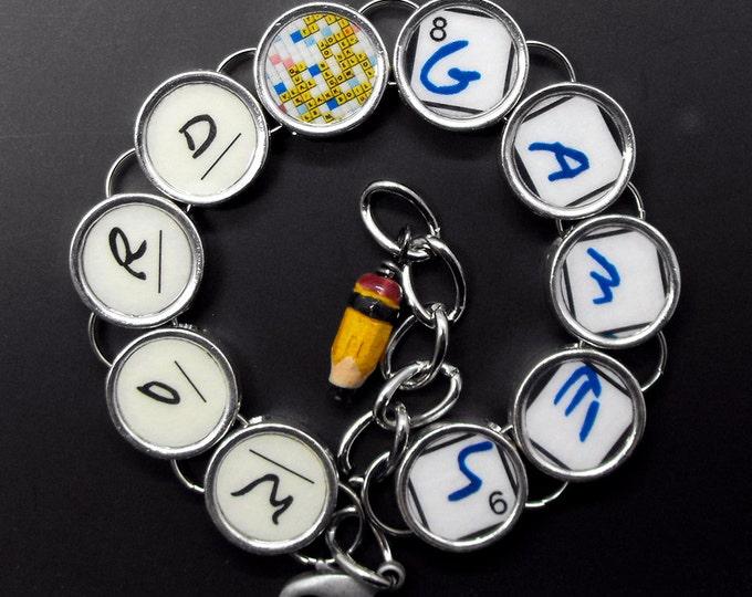 Word Games Bracelet Crossword Gift Lover Puzzle Jewelry