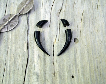 Fake Gauges Horn Earrings Talon Tribal Buffalo Black Horn Organic - FG032 H G1
