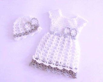Crochet Pattern  Dress And Hat  , Newborn To 4t , Baby Dress Pattern, Crochet Baby Dress Pattern, Handmade Baby Dress