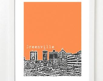 Greenville South Carolina Poster - City Skyline Art Print  - VERSION 1