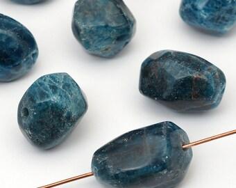 8 pcs apatite nugget beads, green blue semiprecious avg size 18mm