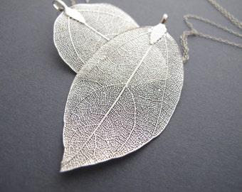 Leaf Necklace, Silver Leaf Necklace, Long Silver Necklace, Leaf Pendant Real Leaf Necklace, Long Necklace Sterling Silver Statement Necklace