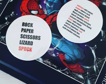Rock Paper Scissors Lizard Spock Big Bang Theory badges, Rock paper scissors lizard spock rules, rock paper scissors badge sheldon cooper