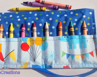 Crayon Roll Up Crayon Holder Circus Animals- Holds 8 Crayons