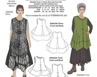 Adelaide jurk en tuniek, KLEINE MATEN, womens PDF naaien patroon
