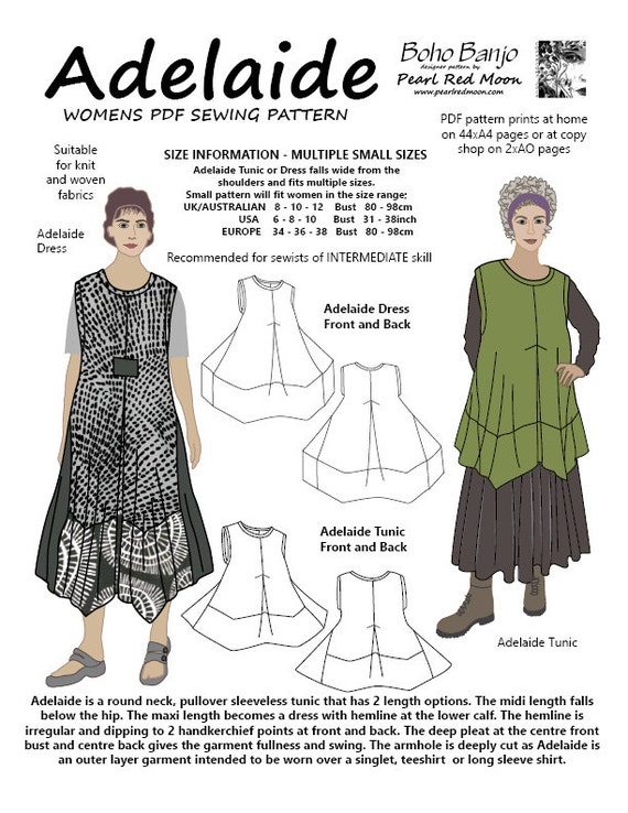 Adelaide Dress and Tunic, SMALL SIZES, womens PDF sewing pattern ...