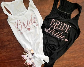 Rose Gold Bachelorette Party Shirts, Rose Gold Bride and Tribe Shirts,  Rose Gold Glitter Bridesmaids V-Necks, Rose Gold Bride Tribe Tanks