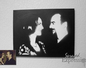 """Customizable Couples Portrait Spray Paintings, 11""""x14"""" Canvas - Made to Order"""