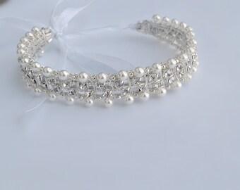 Bridal bun jewelry wrap, Wedding art deco bun wrap, Rhinestone bun wrap, Ivory pearls wrap bun, Bridal jeweled bun wrap, Sparkly bun wrap.