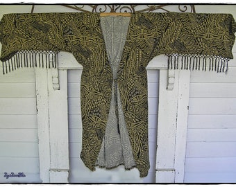 TRIBAL KIMONO JACKET - Braided Tassel Fringe Sleeves, Hippie Festival Coat, Bohemian Ethnic Beach Cover-up, Boho Gypsy Party Outwear [J-104]