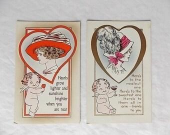 2 Vintage Valentine's Day Postcards Cherubs & Ladies Earing Big Hats Early 1900s