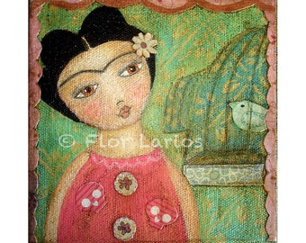 Frida y Pajarito -   Giclee print mounted on Wood (8 x 8 inches) Folk Art  by FLOR LARIOS