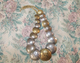 Hammered Silver and Brass tone metal Disc Necklace