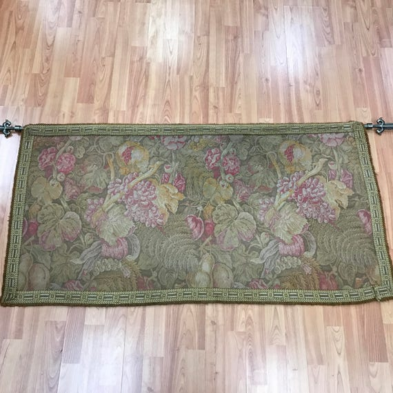 """2'2"""" x 4'2"""" Antique Chinese Tapestry - 1920s - Floral Design"""