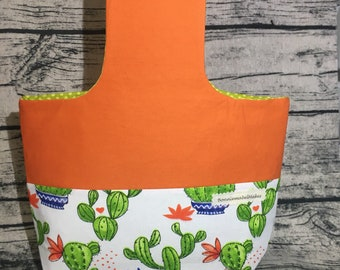 Wristlette project bag cactus fabric