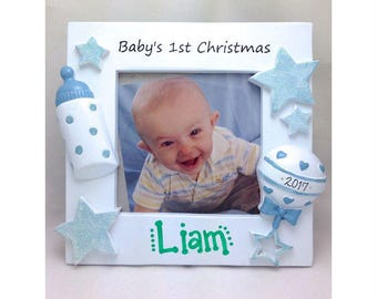 "Photo Frame with ""Baby's 1st Christmas"" / Baby Boy Personalized Christmas Frame / Personalized Photo Frame / Gift for New Mom"