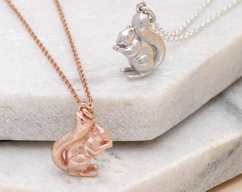 Squirrel pendant etsy personalised sterling silver or gold squirrel necklace hbn208 m052 aloadofball Gallery