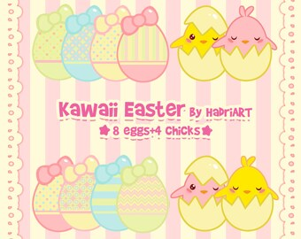 Easter Clip Art Pack. Kawaii Easter Clipart With Eggs and Chicks.