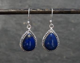 Lapis and Silver Earrings, Teardrop Lapis Earrings, Lapis Lazuli Drops, Dangle Earrings, Dark Blue Earrings, Sterling Silver 925