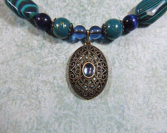 Vintage Blue Bead Choker With Gold Filigree Pendant Medallion - N-525 - Blue Bead Necklace - Filigree Necklace
