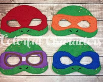 Teenage turtles masks, ninja turtles, felt masks, costume masks, made to order, pretend play, stocking stuffers, halloween