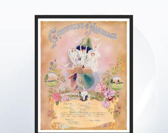 Custom Marriage Certificate - Art Deco - Marriage Certificate - Colorful Artwork