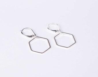 Silver Hexagon Earrings Hive Earrings Dangly Earrings  Hive  Silver