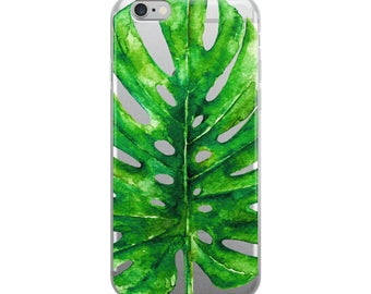 Tropical Leaf Clear, Monstera Phone case, iPhone 7 Case, iPhone 6s Case, Transparent iPhone 6 Case, iPhone 6 Plus Case