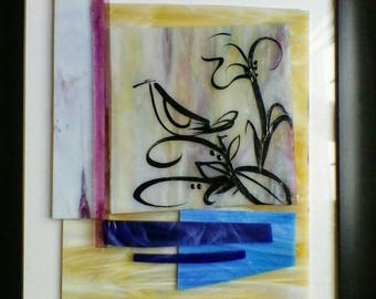"""Glass Collage, 8.5"""" x 12"""" with Enamel Paint"""