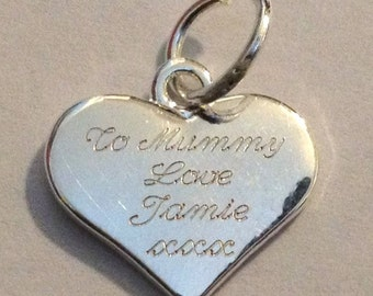 1 personalised engraved charm heart pendant silver plated write message