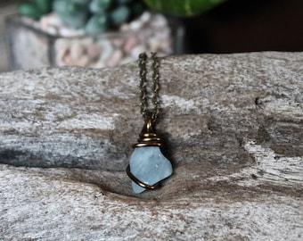 Natural Aquamarine Necklace - Blue Stone Jewelry - Blue Aquamarine Jewelry - Wiccan Necklace - Bohemian Necklace - Boho Jewelry - Boho Chic