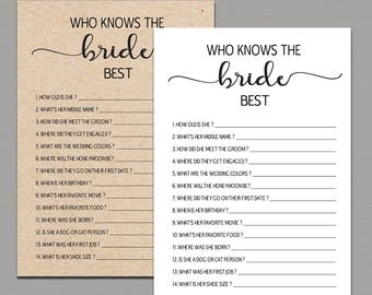 WHO KNOWS the BRIDE best, How Well Do You Know the Bride, who knows the bride best game, Kraft Rustic Bridal Shower Games printable pdf B11