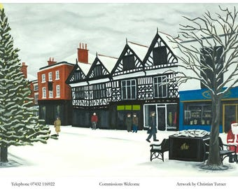 Christmas in Nantwich - original oil painting on linen canvas by Christian Turner
