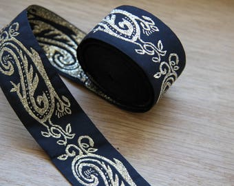 Vintage black woven jacquard ribbon trim with embroidered golden motifs