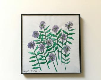 77/100: Cornflowers - original framed watercolor illustration