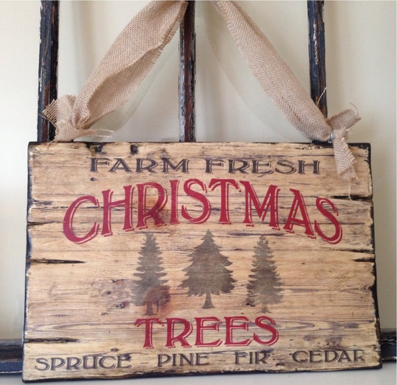 Vintage Typography Christmas Tree Wood Sign Art, Holiday Sign; Cottage, Country Cottage, Rustic Vintage, Can be Customized