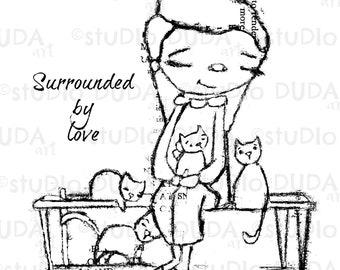 Surrounded by Love 2 Versions Digital Stamp - Printable - Art to Color by STUDIODUDAART